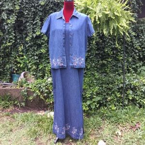 Jane Ashley Chambray Embroidered Maxi Dress & Top.
